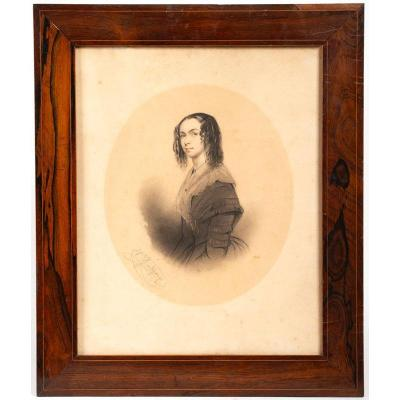 Grandchamp - Drawing : Portrait Of A Woman 19th Century