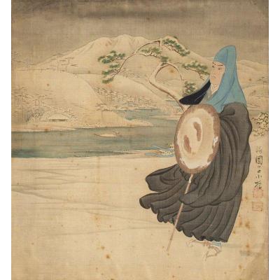 Japon 19e Siècle – Peinture Sur Tissu : Voyageur Paysage De Montagnes Et Rivière Dans La Neige