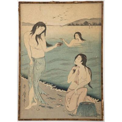 Japan, 19th Century - Three Fisherwomen Ladies On A Beach By The Sea