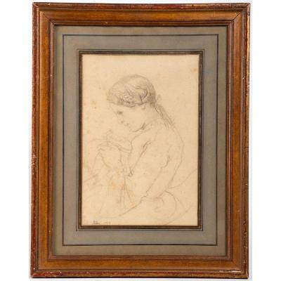 Felon 1844 - Drawing : Seamstress / Delicate Portrait Of A Woman Sewing
