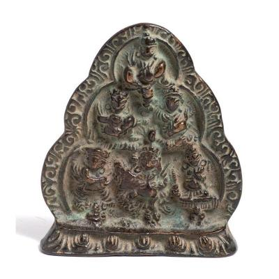 India 18th Century - Small Stele With The Six Deities
