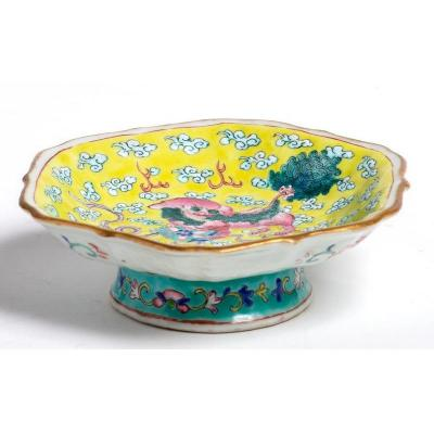 China - Yellow Dish With Guardian Lions Decor
