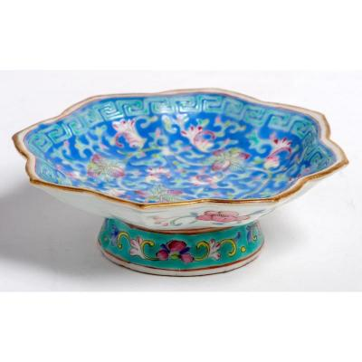 China - Blue Cup With Flower Decoration And Geometric Frieze