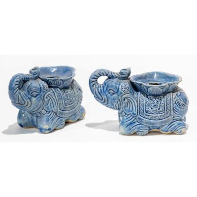 Pair Of Chinese Style Candelholders Or Incense Burners - Ceramic Elephant