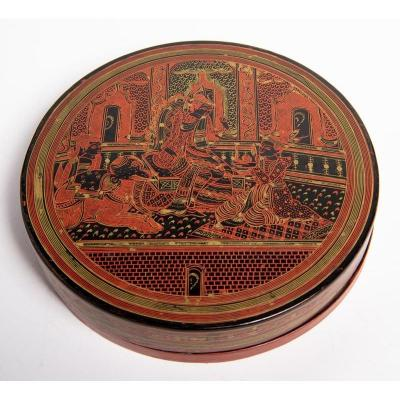 Thailand 19th Century - Red And Black Lacquer Lacquered Wood Box
