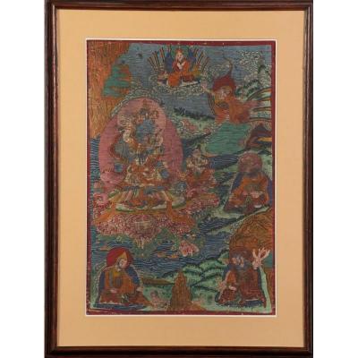 Thangka : Le Bodhisattva Vajrapani En Yab Yum - Népal Ou Tibet / Tangka Thanka Tanka