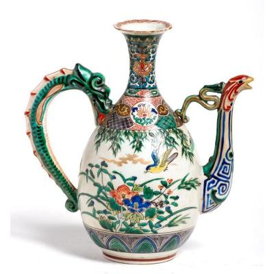 Porcelain Jug With Dragon Grip And Firebird Spout Japan