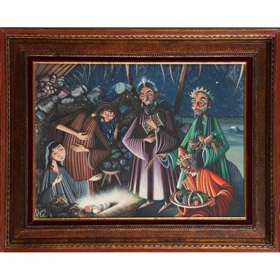 Pierre Guillaud (1914-2012) - The Adoration Of The Magi - Naive Painting