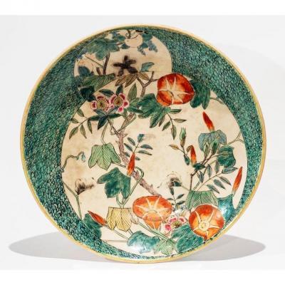 Japon ère Meiji – Plat Aux Fleurs En Porcelaine De Kutani / Kutani-yaki