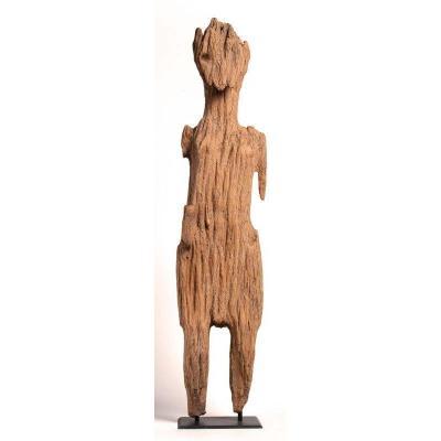 Vietnam 19e / 20e Siècle – Grande Statue D'ancêtre Joraï Ou Jaraï En Bois