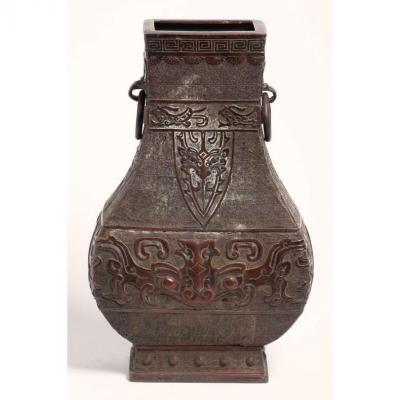 Chine 18e / 19e Siècle - Vase Balustre En Bronze à Décor Archaïsant De Masques Taotie