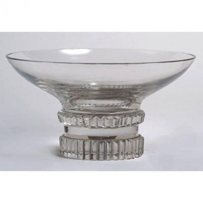 Jean Sala & cristallerie de Saint Louis c. 1935 - Coupe circulaire Art Déco en cristal