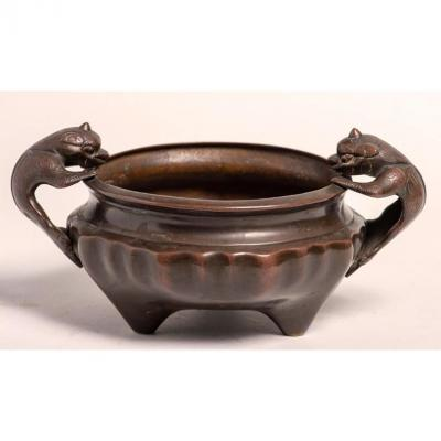 Bronze Censer With Dragons - China, Qing Dynasty