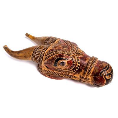 Inde Fin Du 18e / 19e Siècle - Sculpture Représentant La Tête Du Taureau Nandi