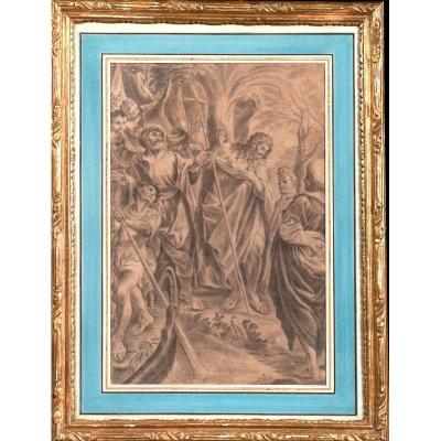 Lodovico Carracci (d'après) (1555-1619) - La Prédication De Saint Jean-baptiste - Pierre Noire