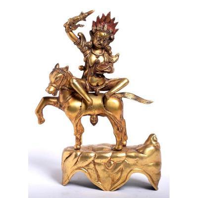 Tibet 18ème - 19ème Siècle - Palden Lhamo Sur Sa Mule - Chine Art Tibétain Chinois
