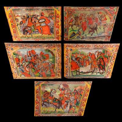 Ecole Italienne Du 19ème Siècle - Ensemble De 5 Peintures Polychrome Sur Panneaux De Bois
