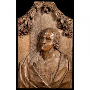 17th Century School - Presumed Portrait Of Martin Luther On Carved Panel