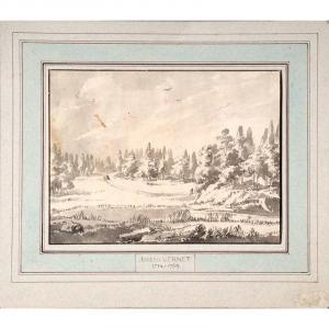 Joseph Vernet (dans Le Goût De) - Paysage Animé Et Boisé - Encre Et Lavis Gris Sur Papier