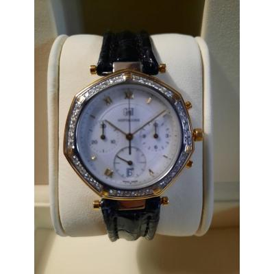 chronographe Gmt Heptagone extra plat Or Gris et Brillants