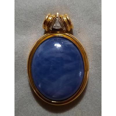 Pendentif cabochon Lapis Lazuli entourage or jaune