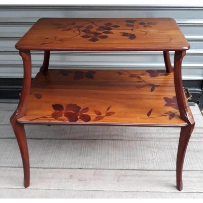 Table à Thé Art Nouveau En Marqueterie Signée Majorelle
