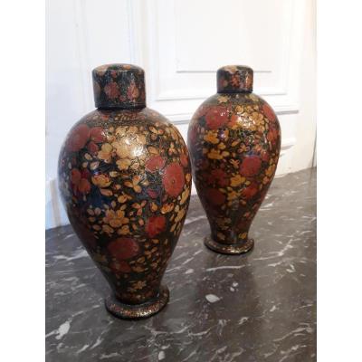 Paire De Vases Laqués Cachemire 19e