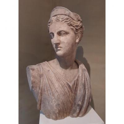 Grand Buste d'Artemis En Marbre