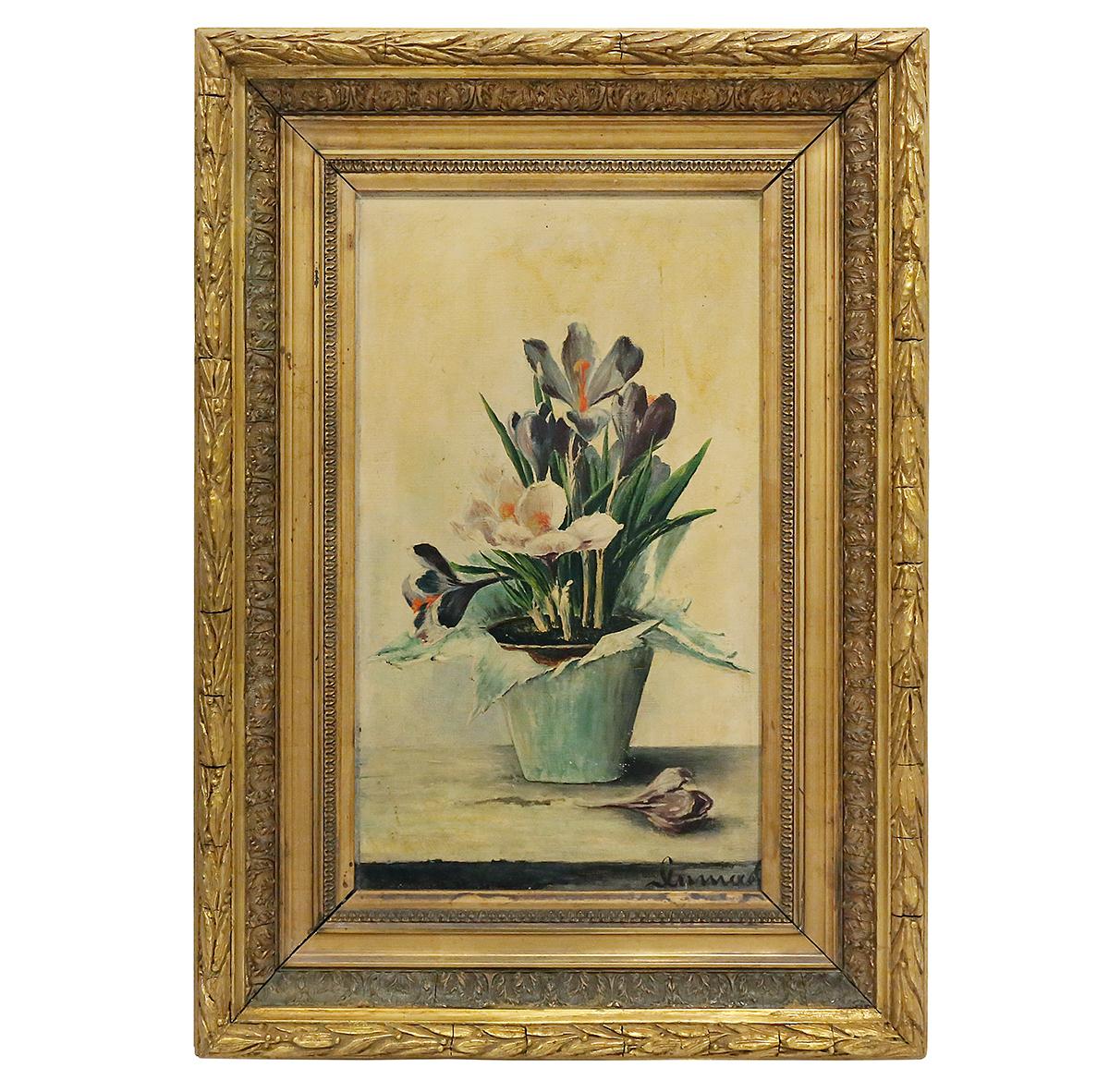 Tableau De Fleurs Signé Années 1900