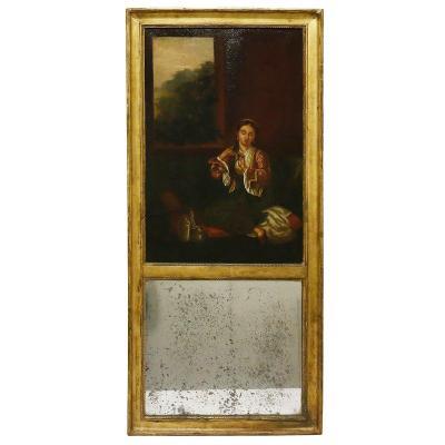 A 19th Trumeau Mirror Scene Orientalist