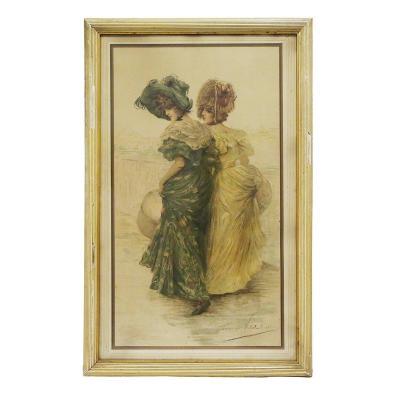 Lithographie d'élégantes 1900 De Frédérique Vallet Bisson