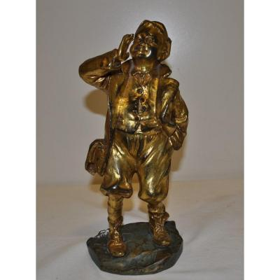 Young Man In Dore Bronze Signed Louis Oury