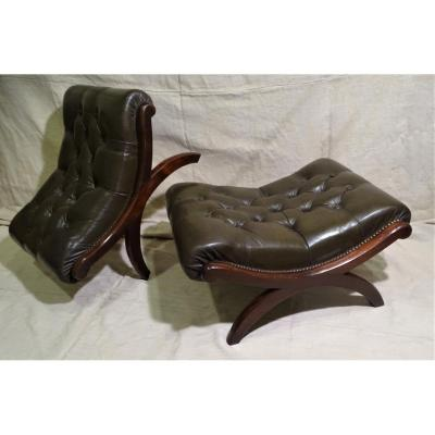 Pair Of Curules Stools In Mahogany And Leather Circa 1900