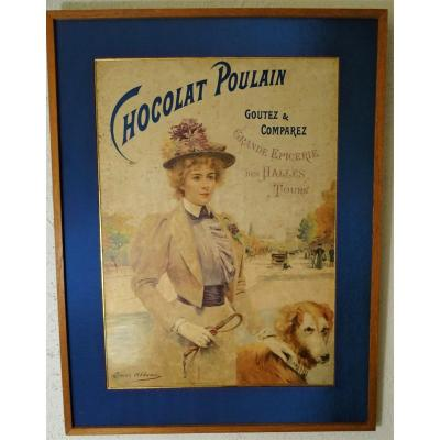 Original Advertising Poster Chocolate Poulain Signed Abbéma End XIX