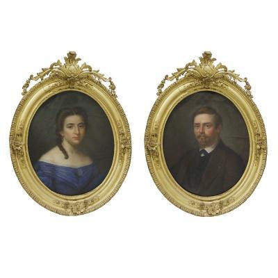 Paire De Portraits Au Pastel XIXe