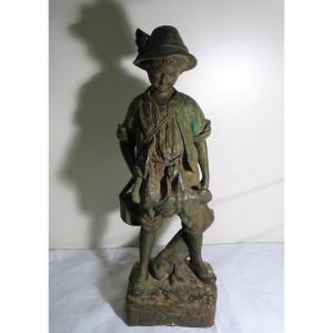Sculpture En Fonte De Fer Jeune Chasseur Circa 1900