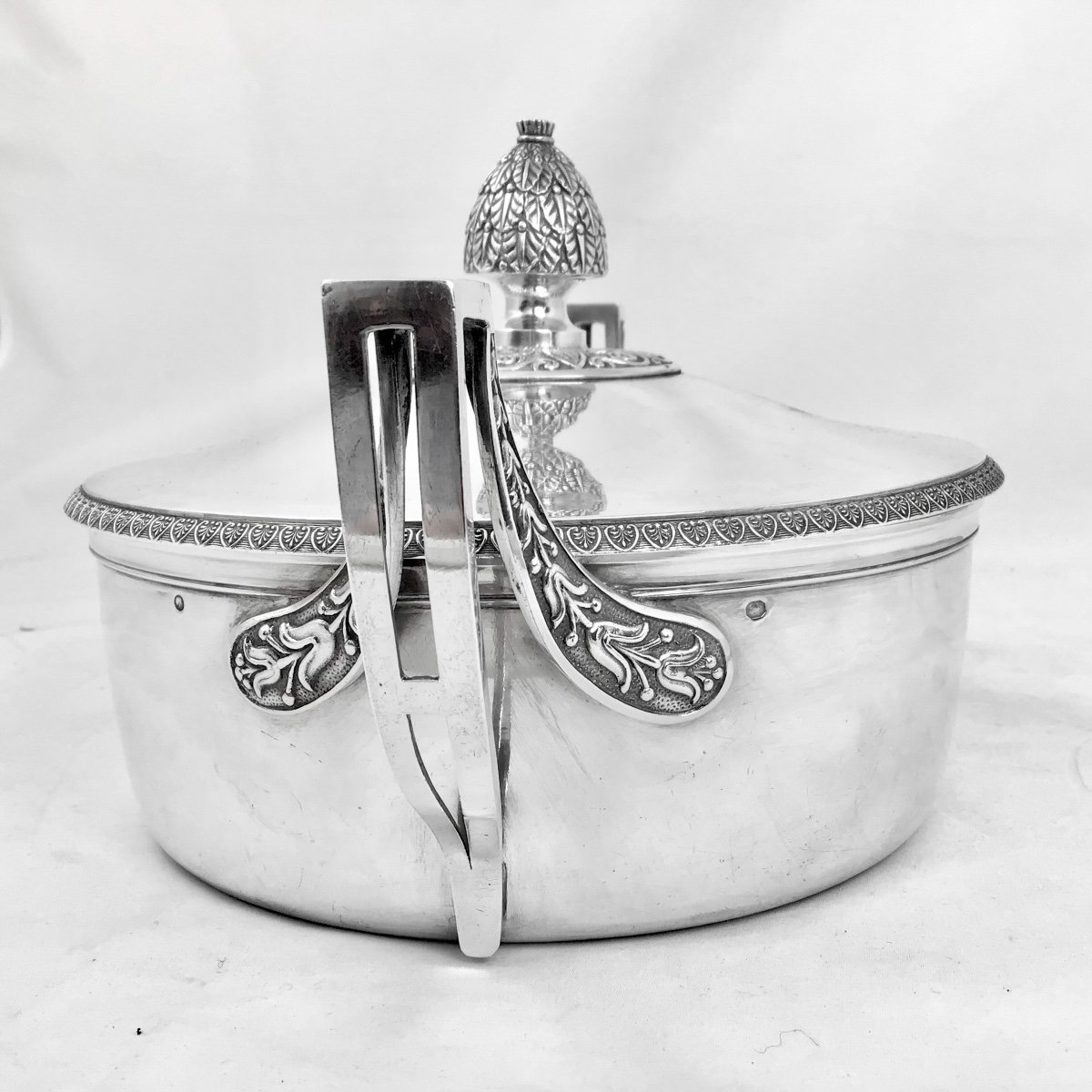 Sterling Silver Vegetable Dish, Empire Period, Paris 1809-1819, J.-b. Lefranc-photo-3