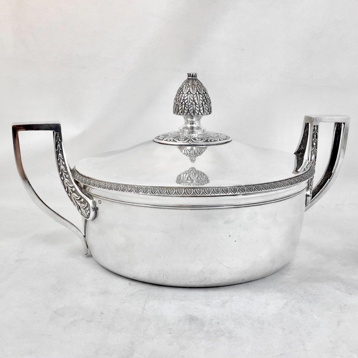 Sterling Silver Vegetable Dish, Empire Period, Paris 1809-1819, J.-b. Lefranc-photo-6
