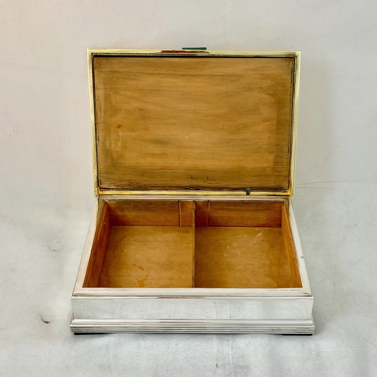 Art Deco Box, Wolfers, Malachite Marquetry, Silver And Vermeil, Around 1940-50-photo-4