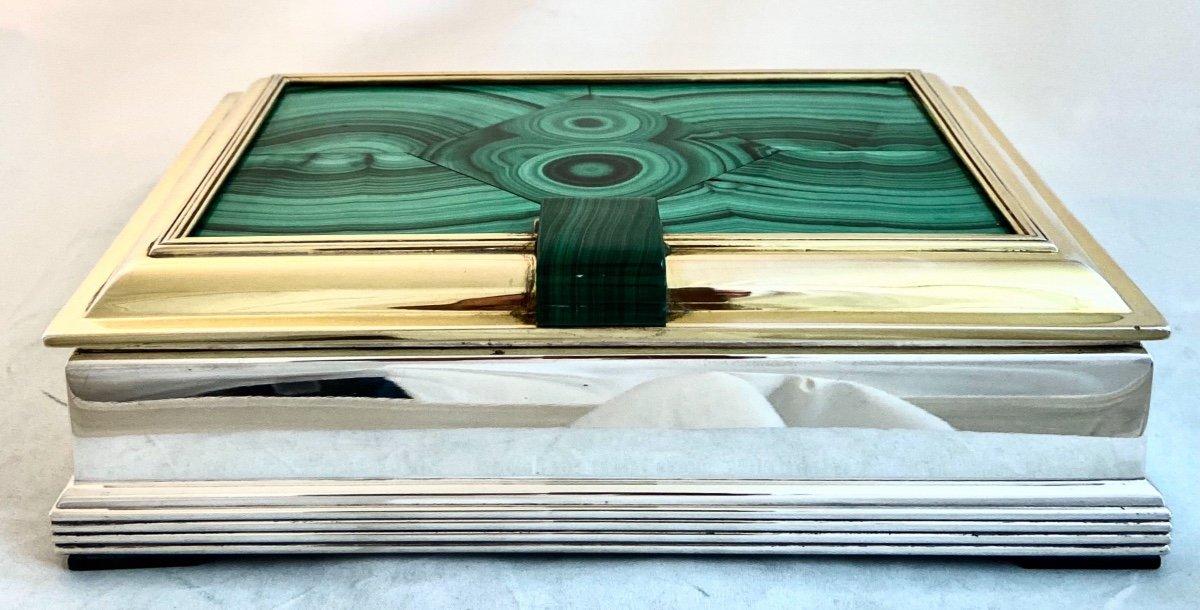 Art Deco Box, Wolfers, Malachite Marquetry, Silver And Vermeil, Around 1940-50-photo-7