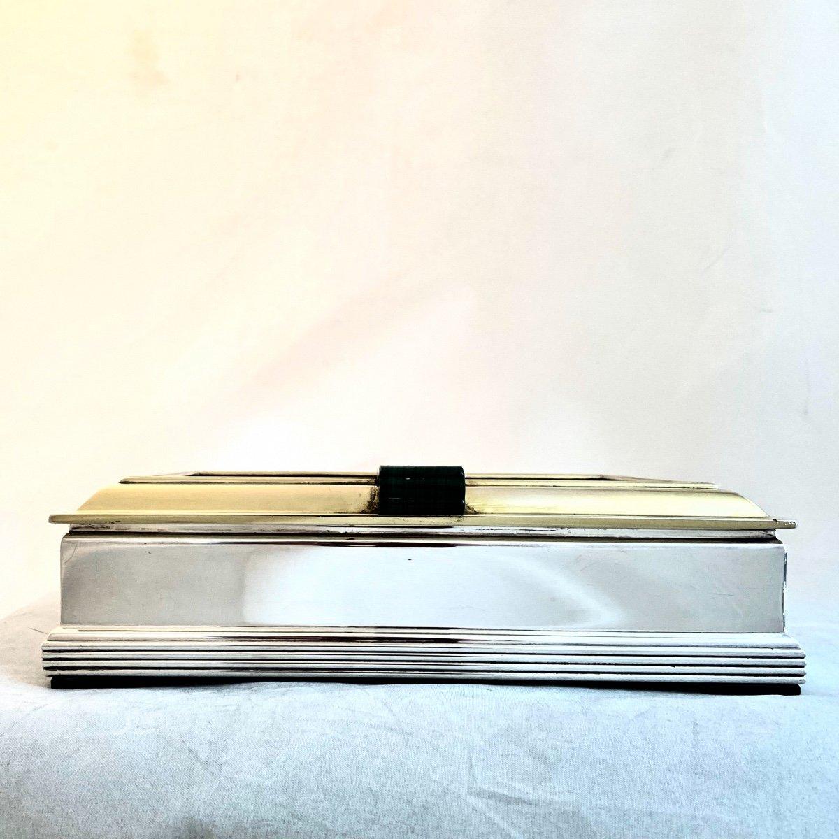 Art Deco Box, Wolfers, Malachite Marquetry, Silver And Vermeil, Around 1940-50-photo-8