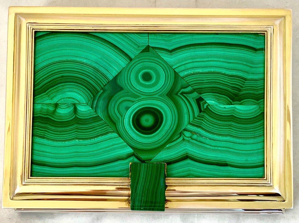 Boîte Art Deco, Wolfers, Marquetterie De Malachite  , Argent Et Vermeil, Vers 1940-50