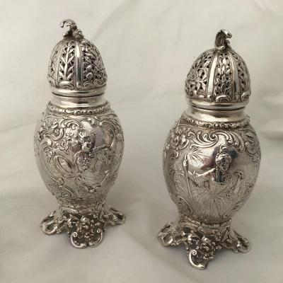 À Pair Of Sterling Silver Sugar Casters  With Hallmarks Of Chester Early 20th Century.