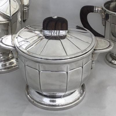 Art Deco Coffee Service In Silver And Rosewood, France Around 1925,