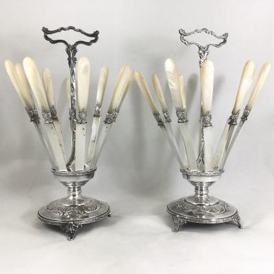 Two Knife Holders In Silver Plated Metal, Otto Wiskemann, Brussels Around 1900
