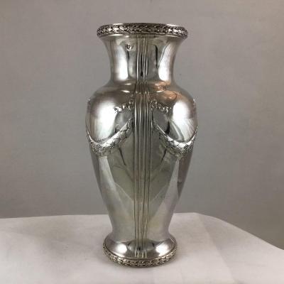 Vase En Argent Massif, Style Louis XVI , France Vers 1890-1900