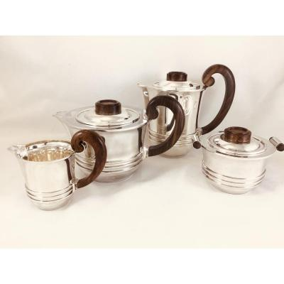 Coffee Service In Sterling Silver, Ravinet Denfert, Paris, 1925-1935, Art Deco