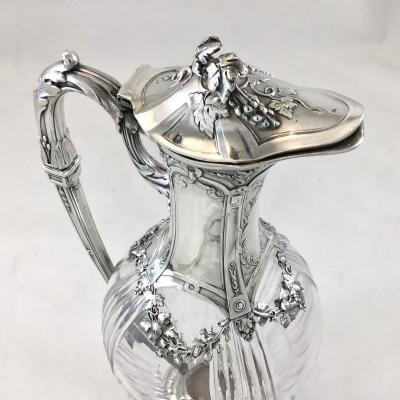 Claret  Jug In Silver And Crystal, France End XIXth, Louis XVI Style