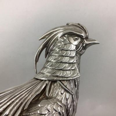 Pheasant In Sterling Silver, Spain Around 1960, Silver 916 \\%,