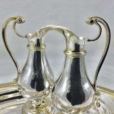 Empire Burettes On Plateau, Sterling Silver, Paris, 1798-1809, Bulbs